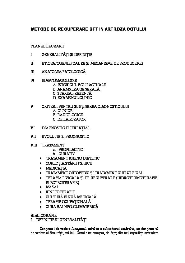 artroza de gradul I al articulației cotului