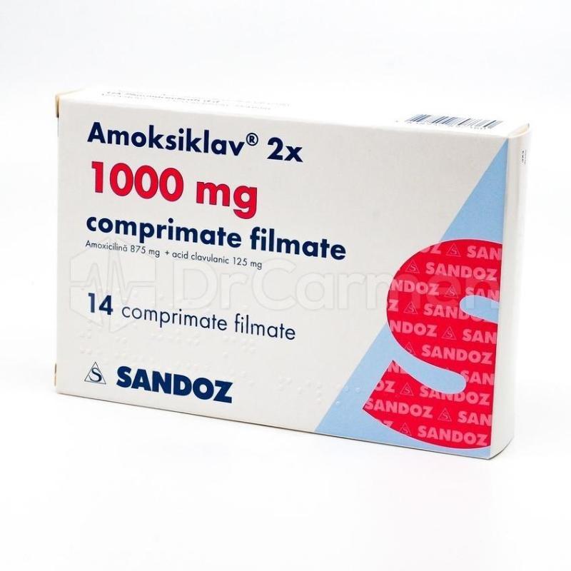 Amoksiklav, comprimate filmate, 2x 625 mg/ 2x 1000 mg