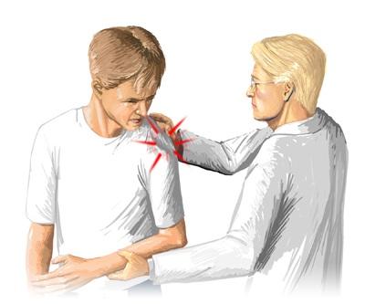 ridicând mâinile crăcând dureri de umăr